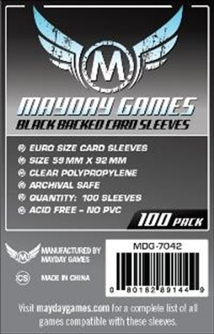 100 Mayday Games 59 x 92 European Size - Black Backed - EU Euro Board Game Sleeves